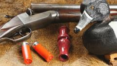 Duck Hunting shotgun and shells - stock footage
