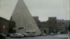 Pyramid of Caius Cestius ROME STREET SCENE 1960s (Vintage Film Home Movie) 4370 Stock Footage