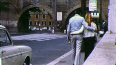 Young LOVERS Walk Roman ROME STREET Travel 1970s Vintage Film Home Movie 4373 Stock Footage