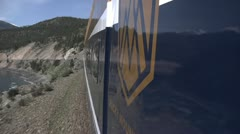 Rocky Mountaineer train in Avalanche Alley, Lytton, British Columbia Stock Footage