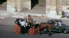 Tourists Horse Cart Ride ROME COLISEUM 1970s Vintage Film Home Movie 4381 - stock footage