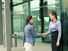 Young businesswomen meeting in the business park Stock Footage