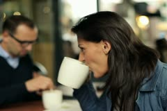 Business people talking in the cafe, outdoor Stock Footage
