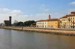 River arno panoramic view with the old citadel at the background Stock Photos