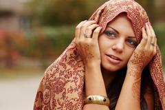 beautiful girl painted mehandi - stock photo
