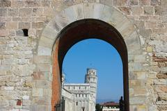 Entrance to piazza dei miracoli in pisa Stock Photos