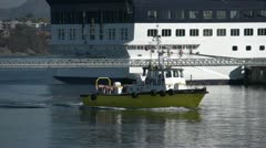 Marine transportation, pilot boat coming into harbour Stock Footage
