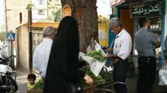 Food shopping in Tehran. - stock footage