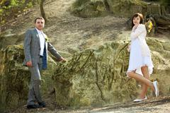Just  married   standing by the stone Stock Photos