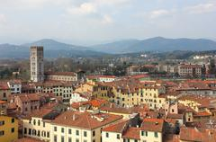 Lucca aerial panoramic view with piazza dell' anfiteatro Stock Photos