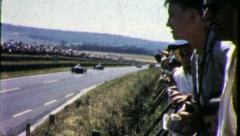 SPECTATOR RACETRACK RACE CARS Le Mans 1960 (Vintage Old Film Home Movie) 4388 - stock footage