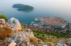 Panoramic view of the old town dubrovnik and island lokrum Stock Photos