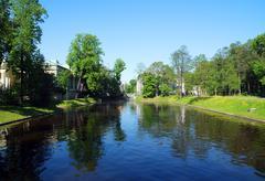 rectangular pond - stock photo