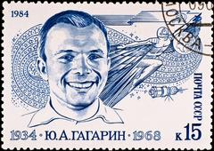 postage stamp shows first russian spaceman yuri gagarin, circa 1984 - stock photo
