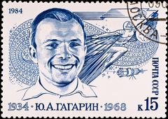 Postage stamp shows first russian spaceman yuri gagarin, circa 1984 Stock Photos