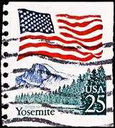 Postage stamp with yosemite national park Stock Photos