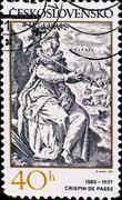 Postage stamp shows engraving of crispin de passe Stock Photos