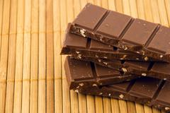 Stock Photo of chocolate bars on a bamboo mat
