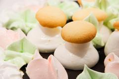 Cake in the form of mushrooms Stock Photos