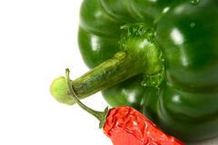 pepper and chili pepper isolated on white - stock photo