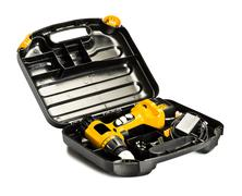 Toolbox with yellow drill set Stock Photos