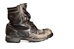 Old army style boot Stock Photos