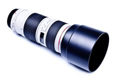 Long lens with hood Stock Photos