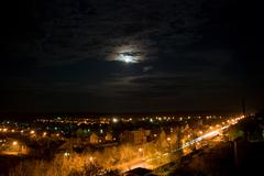 beautiful night scenery - stock photo