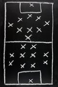 442 v 351.  soccer formation tactics on a blackboard. Stock Photos