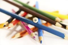 Colored pencils isolated on white Stock Photos