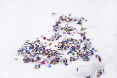 heart of confetti isolated on white - stock photo