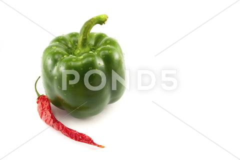 Stock photo of green pepper and chili