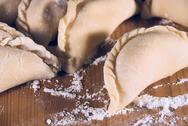 Dumplings and flour Stock Photos