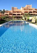 luxury holiday or vacation apartments on urbanisation - stock photo