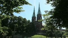 Helsinki Finland church towers Stock Footage