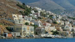 Sailing Ship arriving Symi Greece Stock Footage