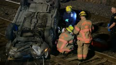 Traffic Accident on Train Tracks Stock Footage