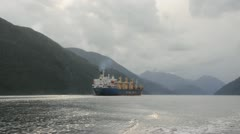 Freighter Nootka Sound Inside Passage Stock Footage