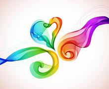 abstract colorful background with wave and heart - stock illustration