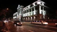Building with night illumination Stock Footage