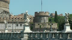 Castel Sant'Angelo, Rome.  Zoom out with bridge and tourists Stock Footage
