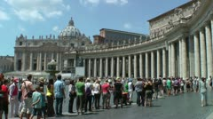 St. Peter's tourists wait to enter Basicalla - stock footage