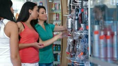 Women Shopping in Cosmetics Store Stock Footage