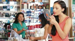 Women Shopping Cosmetics Stock Footage