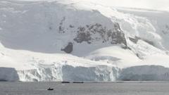 Antarctica, Dingy & Snowy Mountain Stock Footage