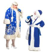 Travesty actors genre depict santa claus and snow maiden Stock Photos