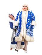travesty actors genre depict santa claus and snow maiden - stock photo
