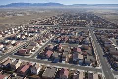 desert suburban subdivision aerial - stock photo