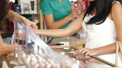 Female Customers Shopping for Beauty Care Products Stock Footage