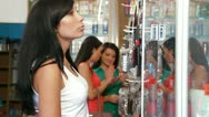 Shopping Women in Cosmetics Shop Stock Footage
